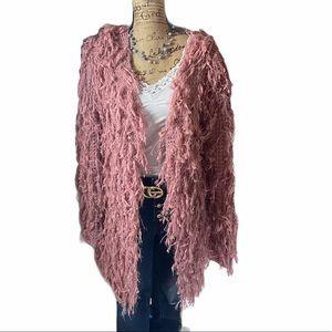 Macaron pink fringe long sleeved cardigan